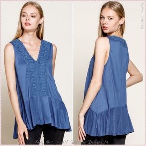 Floral Crochet Tunic Tank French Blue
